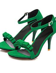 cheap -Women's Shoes Nubuck leather Summer Ankle Strap Sandals Stiletto Heel Open Toe Bowknot / Buckle Black / Purple / Green / Party & Evening