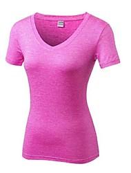 お買い得  -女性用 ランニングTシャツ 半袖 ライトウェイト, 速乾性, 伸縮性 Tシャツ のために ピラティス / カジュアル / エクササイズ&フィットネス ポリエステル, スパンデックス オレンジ / フクシャ / ダークグレイ L / XL / XXL