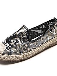 Недорогие -Жен. Ткань Лето Удобная обувь Мокасины и Свитер На плоской подошве Круглый носок Белый / Черный