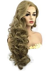 billige -Syntetisk Lace Front Parykker Krøllet Mellemdel Fluffy Gyldent Dame Blonde Front Celebrity Paryk / Naturlig paryk Lang Syntetisk hår