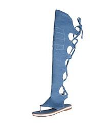 baratos -Mulheres Sapatos Tecido Verão Chanel Botas Sem Salto Dedo Aberto Botas Acima do Joelho Laço para Ao ar livre Preto / Bege / Azul