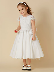 cheap -A-Line Knee Length Flower Girl Dress - Cotton Lace Short Sleeves Scoop Neck with Bow(s) by LAN TING BRIDE®