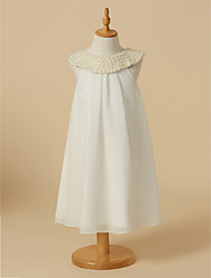 cheap -Sheath / Column Knee Length Flower Girl Dress - Chiffon Sleeveless Scoop Neck with Beading by LAN TING BRIDE®