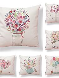 baratos -6 pçs Téxtil / Algodão / Linho Fronha, Floral / Art Deco / Estampado Estilo Moderno / Forma Quadrada