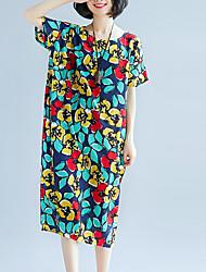cheap -Women's Oversized Swing Dress - Floral Low Waist