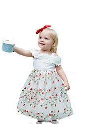Недорогие -Дети Девочки Милая Уличный стиль Для вечеринок Праздники Цветочный принт Кружева Сетка Без рукавов Средней длины Платье Белый / Хлопок