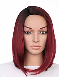 cheap -Synthetic Wig Straight Burgundy Bob Haircut Synthetic Hair Easy dressing / Sexy Lady / Color Gradient Burgundy Wig Women's Short Capless / Fashion / Yes