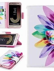 Недорогие -Кейс для Назначение SSamsung Galaxy J7 (2017) J2 PRO 2018 Бумажник для карт Кошелек со стендом Флип С узором Чехол Цветы Твердый Кожа PU