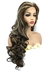 cheap -Synthetic Lace Front Wig Curly Middle Part Synthetic Hair Highlighted / Balayage Hair Brown Wig Women's Long Lace Front Wig / Yes