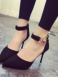preiswerte -Damen Schuhe Nubukleder Frühling Pumps Komfort High Heels Stöckelabsatz für Normal Schwarz Grau Gelb