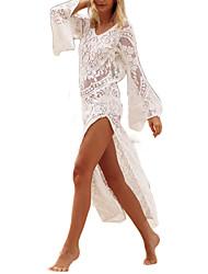 Недорогие -Жен. Богемный Свободный силуэт Брюки - Однотонный Кружева Завышенная Белый / Ассиметричное / Пляж  / Сексуальные платья