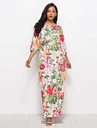 abordables -Femme Basique Tunique Robe - Lacet / Imprimé, Fleur / Couleur Pleine Maxi