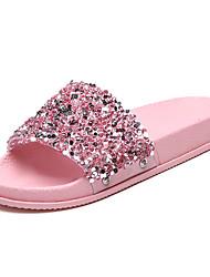 cheap -Women's Shoes PU(Polyurethane) Summer Comfort Slippers & Flip-Flops Flat Heel Round Toe Rhinestone Black / Yellow / Pink
