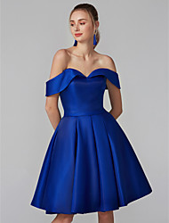 cheap -Ball Gown / Fit & Flare Off Shoulder Knee Length Satin Cocktail Party / Prom Dress with Sash / Ribbon by TS Couture®