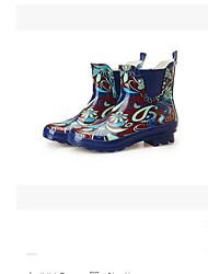 baratos -Mulheres Sapatos Borracha Primavera Verão Botas de Chuva Botas Salto Baixo para Azul