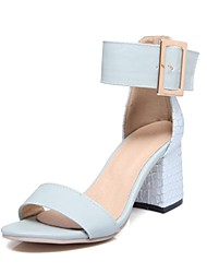 cheap -Women's Shoes Leatherette Spring & Summer Comfort Sandals Chunky Heel Open Toe Imitation Pearl White / Blue / Pink / Party & Evening