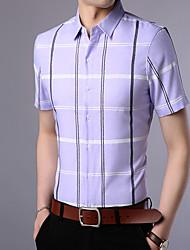 cheap -Men's Cotton / Polyester Slim Shirt - Geometric / Houndstooth Classic Collar / Short Sleeve
