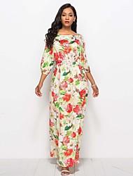 abordables -Femme Basique Manches Lanterne Tunique Robe - Lacet / Imprimé, Fleur / Couleur Pleine Maxi