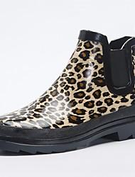 baratos -Mulheres Sapatos Látex Outono Botas de Chuva Botas Salto Baixo para Leopardo