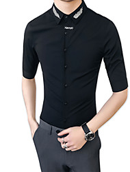 cheap -Men's Party / Club Cotton / Polyester Shirt - Solid Colored / Please choose one size larger according to your normal size.