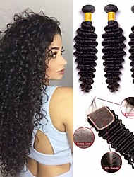 cheap -3 Bundles with Closure Malaysian Hair / Deep Wave Curly Human Hair Hair Weft with Closure Human Hair Weaves Soft / Classic / Hot Sale Natural Color Human Hair Extensions Women's