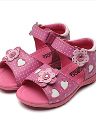 cheap -Girls' Shoes Leather Spring & Fall Flower Girl Shoes / Light Soles Sandals Bowknot / Polka Dot / Magic Tape for Toddler Peach / White /