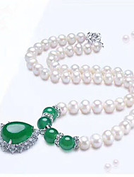 cheap -Women's Onyx Pendant Necklace  -  Pearl, Freshwater Pearl Drop Classic, Fashion Dark Green 50 cm Necklace For Daily