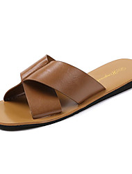 cheap -Women's Shoes PU Summer Comfort Slippers & Flip-Flops Flat Heel Bowknot for Casual Beige / Dark Brown