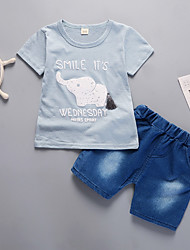 Недорогие -Дети (1-4 лет) Мальчики Кот С принтом С короткими рукавами Набор одежды