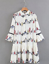 cheap -Women's Tunic Dress - Floral Low Waist Shirt Collar