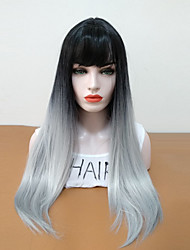 cheap -Synthetic Wig Straight Layered Haircut Synthetic Hair Heat Resistant / Ombre Hair / With Bangs Gray Wig Women's Long Capless / Yes