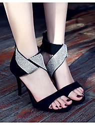 preiswerte -Damen Schuhe Leder Sommer Pumps Komfort Sandalen Stöckelabsatz für Normal Schwarz
