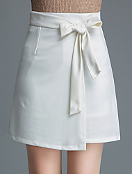 baratos -Mulheres Temática Asiática Evasê Saias - Listrado / Houndstooth Fenda Cintura Alta