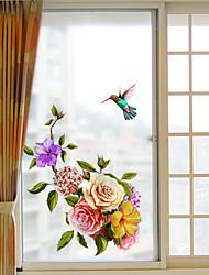 Недорогие -Оконная пленка и наклейки Украшение С цветами / Современный Цветочный принт ПВХ Стикер на окна / Матовая
