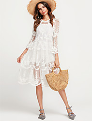 cheap -Women's Shift Dress - Solid Color White, Artistic Style High Rise / Lace / Summer