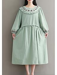 povoljno -Žene Jednostavan Swing kroj Haljina - Vezeno, Cvjetni print Midi