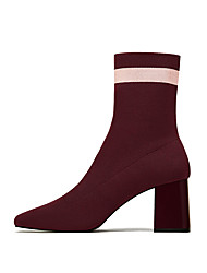 cheap -Women's Shoes Knit Fall & Winter Bootie Boots Chunky Heel Square Toe Booties / Ankle Boots Black / Wine