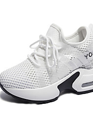 cheap -Women's Shoes Tulle Spring & Summer Comfort Athletic Shoes Platform Round Toe for Athletic / Outdoor White / Black