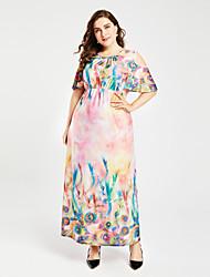 cheap -TS - Sweet Curve Women's Plus Size Boho Swing Dress - Floral High Waist Maxi