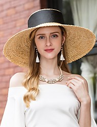 cheap -Natural Fiber Hats with Ribbons 1pc Casual / Daily Wear Headpiece