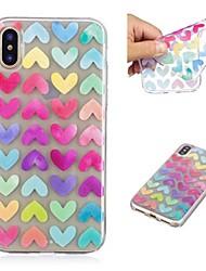 preiswerte -Hülle Für Apple iPhone X / iPhone 8 Plus Transparent / Muster Rückseite Herz Weich TPU für iPhone X / iPhone 8 Plus / iPhone 8