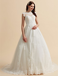 cheap -A-Line High Neck Chapel Train Lace Custom Wedding Dresses with Appliques Buttons by LAN TING BRIDE®