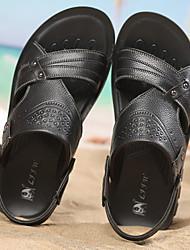 cheap -Men's Shoes Cowhide Summer Comfort Sandals Black / Brown