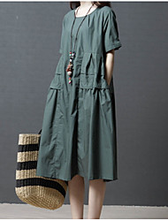 cheap -Women's Going out / Weekend Cotton Loose Shift Dress - Solid Colored High Waist / Cotton / High Waist / Going out / Loose