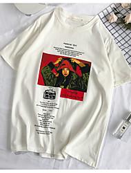 baratos -Mulheres Camiseta Básico Estampado, Retrato / Letra