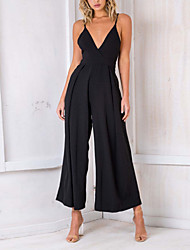 cheap -Women's Basic Jumpsuit - Solid Colored, Patchwork
