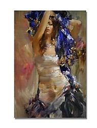 cheap -STYLEDECOR Modern Hand Painted Swinging Girl on Canvas Oil Painting for Wall Art