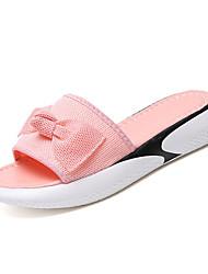 cheap -Women's Shoes PU Summer Comfort Slippers & Flip-Flops Flat Heel Bowknot for Outdoor White / Black / Pink