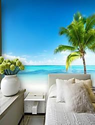 Недорогие -пользовательские приморский кокосовая пальма 3d большие настенные покрытия настенные обои, подходящие для офиса спальня ресторан вид на море