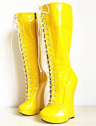 お買い得  -女性用 靴 PUレザー 秋冬 ファッションブーツ / アイデア ブーツ ウエッジヒール ラウンドトウ ニーハイブーツ のために パーティー ホワイト / ブラック / イエロー